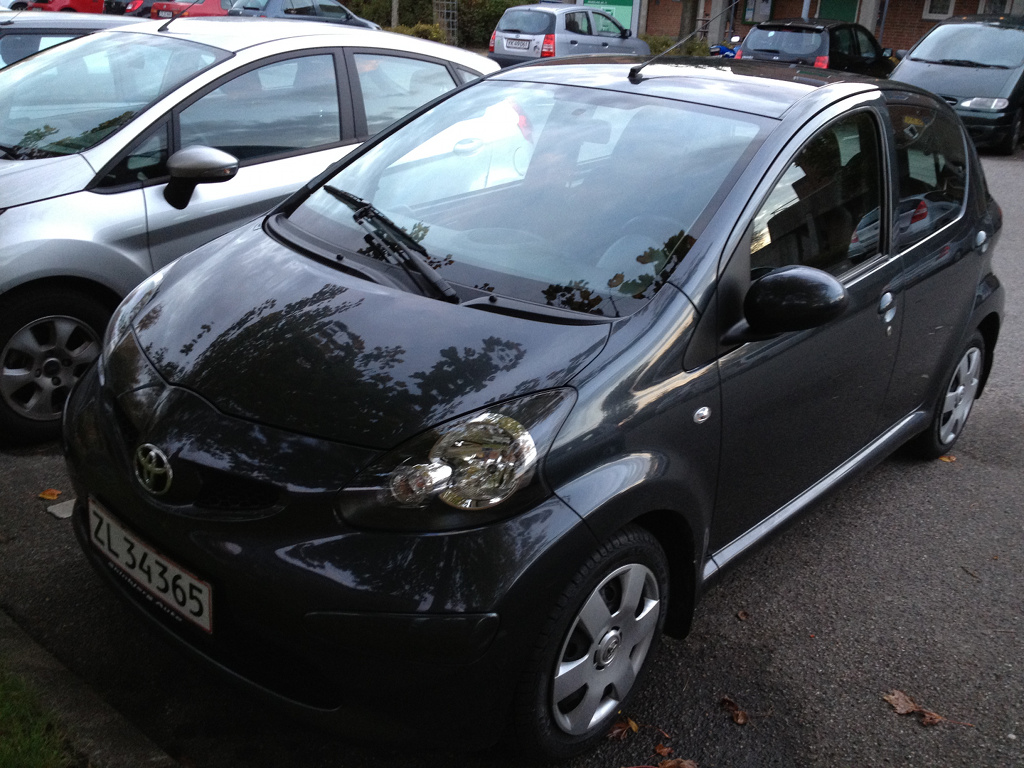 My first car - a Toyota Aygo - picture taken on a parking lot near my apartment on October 2, 2012