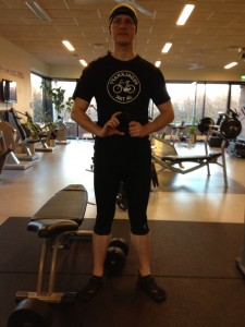 "Weight training in Østerild Multicenter on December 27, 2012 - the shirt reads ""pedal force, yes please"" :-)"