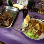 Roast beef, baked potato, garlic bread, vegetables, salad, wine, rum and cola (New Year's Eve 2012)