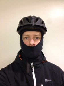 Me wearing a GripGrab balaclava and a bike helmet on January 30, 2013
